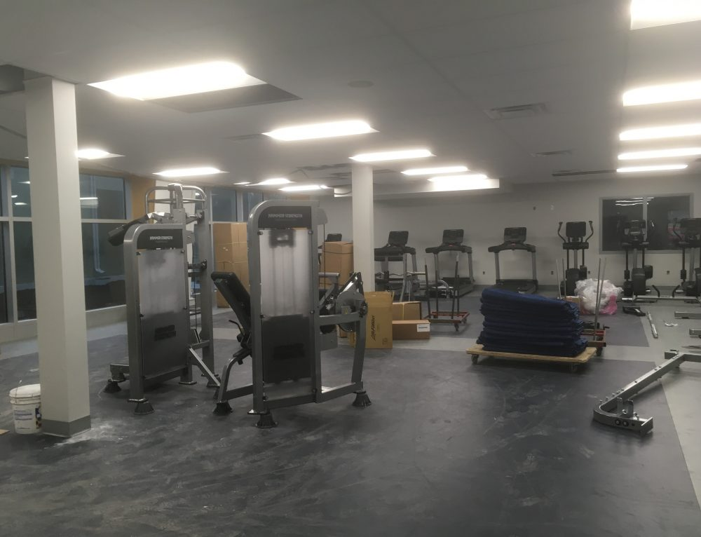 Fitness Centre equipment being set up.