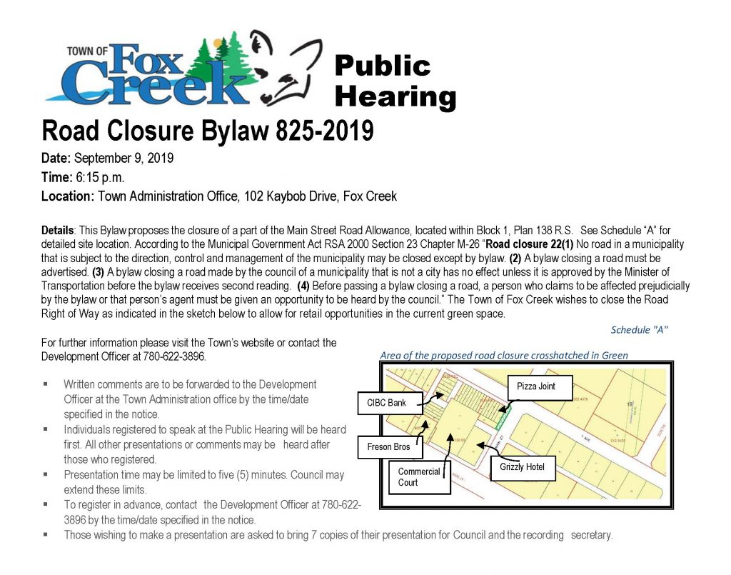 Public Hearing - Road Closure Bylaw