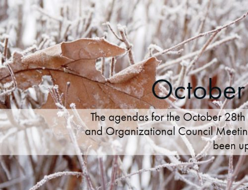The October 28th Regular and Organizational Council Meeting Agendas are uploaded