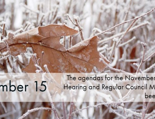 The November 18 Public Hearing and Regular Council Meeting Agendas are now uploaded