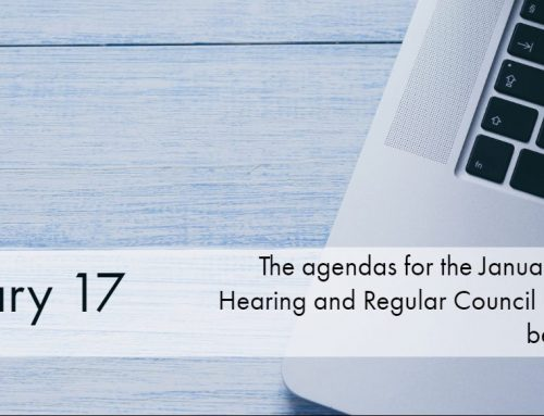 The January 20th Public Hearing and Regular Council Meeting Agendas are now uploaded