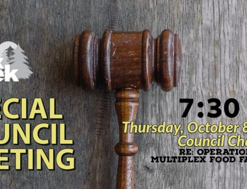 The October 8th Special Council Meeting Agenda is now uploaded