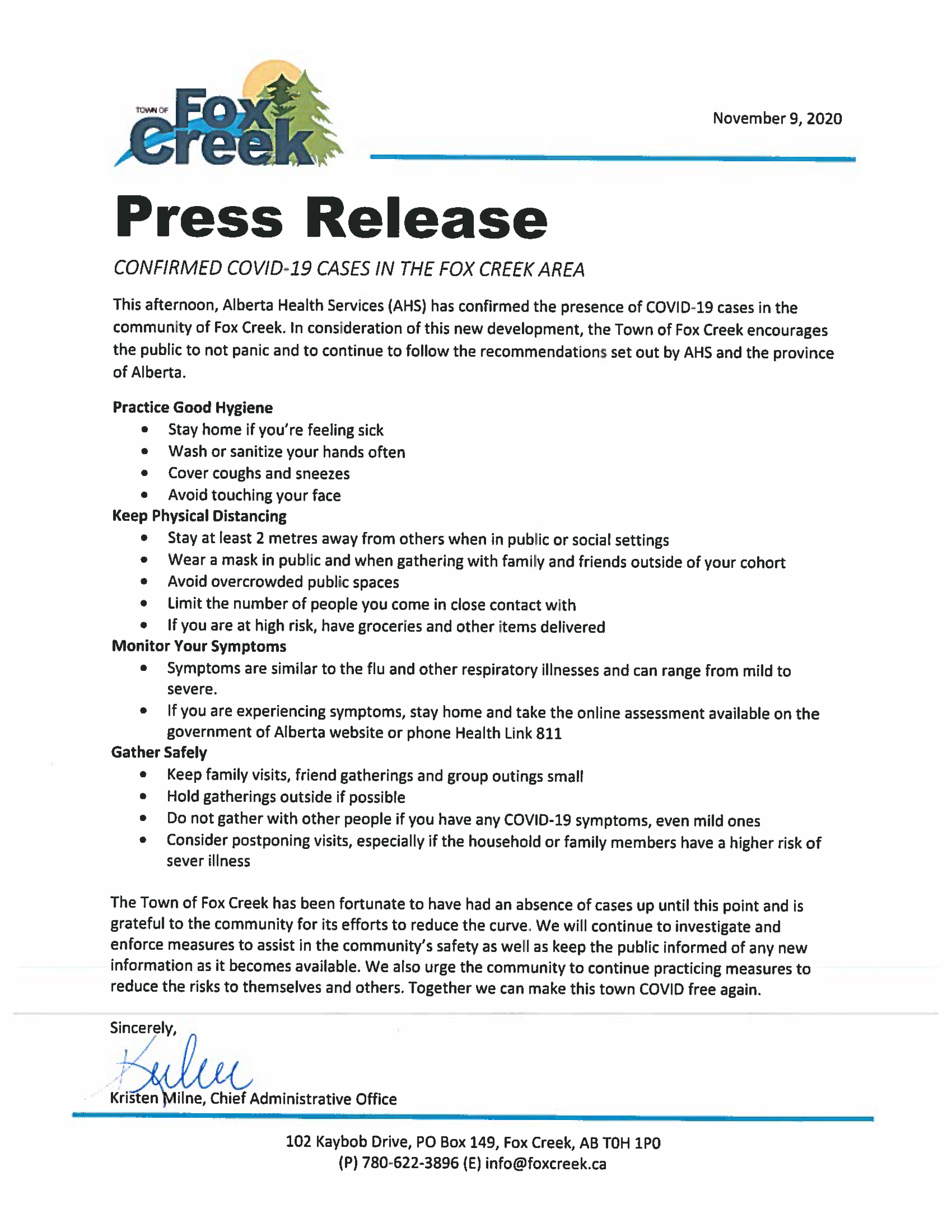 Press Release Confirmed Covid 19 Cases In The Fox Creek Area Town Of Fox Creek