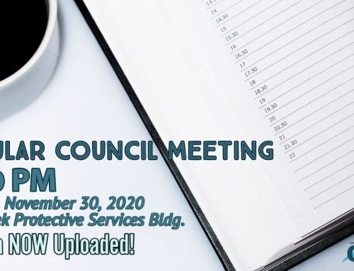 The November 30th Council Meeting Agenda is now uploaded